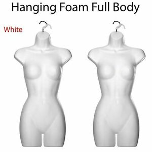2X FEMALE HANGING FULL BODY MANNEQUIN  FORM TOP QUALITY TORSO DISPLAY BUST WHITE