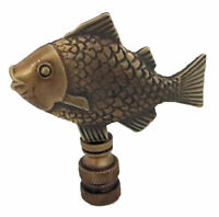 LARGE FISH LAMP SHADE FINIAL ANTIQUE BRASS- finial thread
