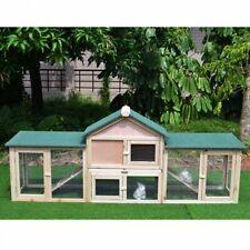 Rabbit Cage Hutch Large Wooden Chicken Pet Habitat Ramp Run Outdoor Animal House