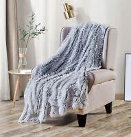 Long Shaggy Faux Fur Blanket Plush Furry Reversible Fluffy Throw Blanket