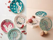 """Anthropologie """"Corinna"""" Dessert Plate & Cake Stand 7PC Set ~ Squirrel /Deer/Cat"""