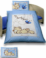Bettwäsche 100x135 cm NICI Baby Bär Schmetterling blau