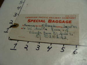 Vintage Travel Paper:1930's Canadian Pacific Railway SPECIAL BAGGAGE TAG