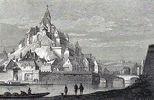 Antique print,houtgravure : kasteel Namen castle  - gravure Le Château de Namur