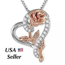 Mother's Day Gifts Silver Rose Flower in Heart Pendant Necklace N175 Mom Wife