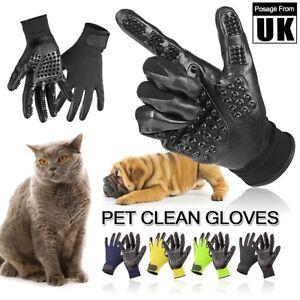 Pair Pet Dog Cat Cleaner Grooming Gloves Brush Hair Remover Shedding Massage UK