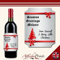 L98 Personalised Merry Christmas Ribbon Silver Wine Bottle Label - Perfect Gift!