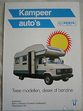 Adria Kamper Autos Motor Home brochure c1990 Dutch text