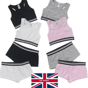 Girls Sporty Racer Crop Tops Briefs Hipsters 2 Pk Back To School Just Essentials