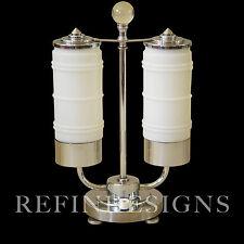 STREAMLINE MARKEL MODERN ART DECO CHROME DOUBLE COLUMN TABLE LAMP DESKEY ROHDE