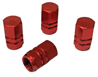 4 x Quality Red Hexagonal Metal Tyre Valve Dust Caps for Cars Bikes Vans