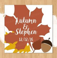 """20 Personalized Fall Wedding Favor Labels/Square Stickers (1.8x1.8"""") Glossy"""