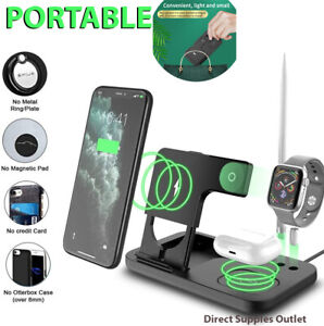 Wireless Charging Portable 4in1 Dock Stand For Apple/Samsung iPhone Watch Charge