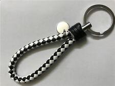 Black-White color Leather Key Chain Ring Keyfob Car Keyring Keychain Gift