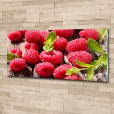 Glas-Bild Wandbilder Druck auf Glas 125x50 Deko Essen & Getränke Himbeeren