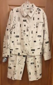 Chico's Tan Indian Print Long Sleeve Jacket and Cropped Pants Size 2