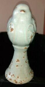"""Forward Facing turquoise Ceramic Bird for Tabletop Finial French Country 8"""""""