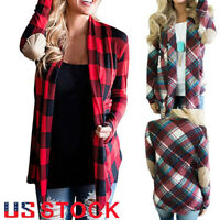 USA Women's Casual Loose Long Sleeve Blouse Plaid Cardigan Tops Open Front Shirt