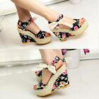 Women Bowknot Open Toe Pump High Heel Shoes Wedge Platform Summer Sandals