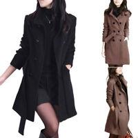 Women's Winter Double-breasted Long Wool Blends Trench Parka Coat Jacket Outwear