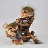Troll Rocking Chair Child Sculpture Novelty Gift Garden Ornament Figure