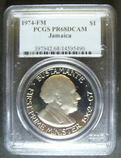 1974-FM Jamaica 1$ Proof coin; PR68DCAM; only 3 higher PCGS Graded on Earth..