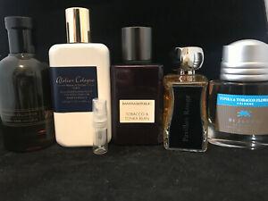 Tobacco Men's cologne lot Glass Spray 2ml each (read description)