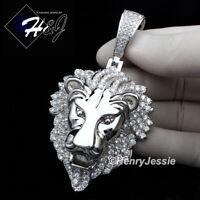 MEN 14K WHITE GOLD FINISH LAB DIAMOND BLING SILVER LION KING HEAD PENDANT*BSP5