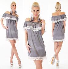 Carmenkleid Top Minikleid Kleid Jeans Optik stone washed grau One Size 34 36 38*
