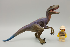 Papo VELOCIRAPTOR 55053 Dinosaur Purple Blue Jurassic Figure RETIRED Model NEW