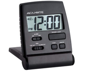 AcuRite LCD Travel Alarm Clock Black Digital Folding Backlight Free Ship