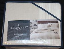 Fieldcrest Luxury Yarn Dye Stripe Queen Duvet Cover Set Natural Sour Cream 3 pc
