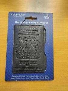 Passport Holder. Real Leather Black.Sophos. RFID secure-BRAND NEW
