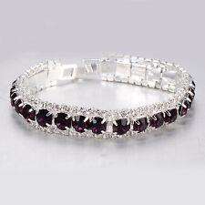 Wedding jewelry Womens White Gold Filled/Silver purple Crystal Tennis Bracelet
