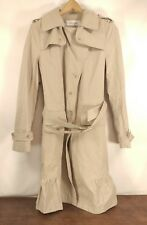 "Womens Juniors Calvin Klein Trench Coat Taupe Khaki Ruffles Size Med 20"" Chest"