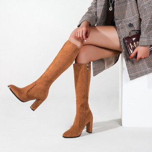 Brown Sexy Knee-high Faux Suede Chunky Heel Round Toe Zipper Flock Boots Shoes