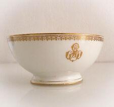 Grand bol à sucre, porcelaine de Paris, décor à l'or fin, époque Napoléon III.
