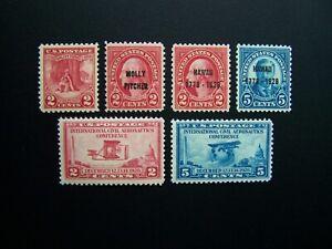 US STAMPS 1928 YEAR COMPLETE SET, SCOTT # 645-650. OG, MNH