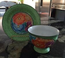 Vintage PALT 1930's Czech Art Deco Pottery Hand Painted Cup And Saucer