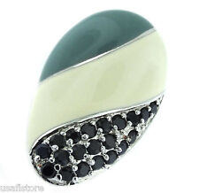 Oval Desing with Black Stones Silver Rhodium EP Ladies Ring Size 7