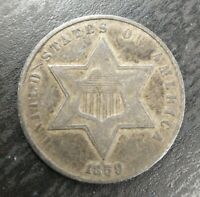 1859 Three Cent Silver Trime Key Date Extremely Fine XF