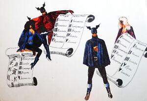 Batman figures modernist ink drawing