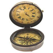 Maritime Brass Compass Horoscope Roman Number Clock Nautical Vintage Pocket Gift