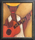"""Mid 20th Century Original Painting """"Woman with Guitar"""" Signed Dunville"""
