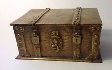 Unique Antique English? Bronze Treasure Chest Hinged Box Trinkets Jewelry