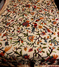 """Vintage Linen /wool Crewel Embroidery  1960s Tree Of Life Bedspread L 102"""" W 57"""""""