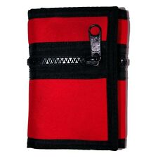 "RED+BLACK* 4.5""x3.25"" TRIFOLD WALLET Hook+Loop Closure ZIPPER POCKET Mesh Window"