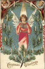 Christmas - Angel Singing - Real Silk Dress c1910 Postcard