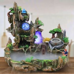 Mountain View Rockery Fountain Water Circulation Small Fish Tank Garden Bonsai D