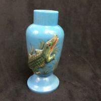 """Blue Ceramic Vase with Raised Green Alligator 6 1/2"""" tall Vintage"""